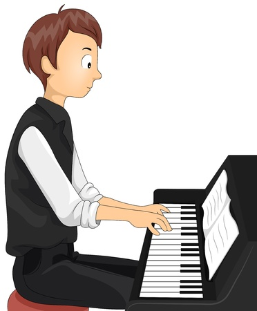 Illustration of a Teenage Boy Playing the Piano