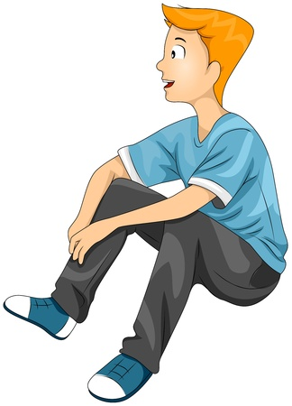 Illustration of a Teenage Boy Watching Something While Seated Stock Illustration - 8614139