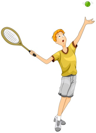 lawn tennis: Illustration of a Teenage Boy Playing Tennis