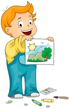 he: Illustration of a Kid Showing the Picture He Drew