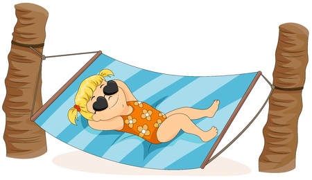 enfant maillot de bain: Illustration of a Little Girl Lying on a Hammock Banque d'images