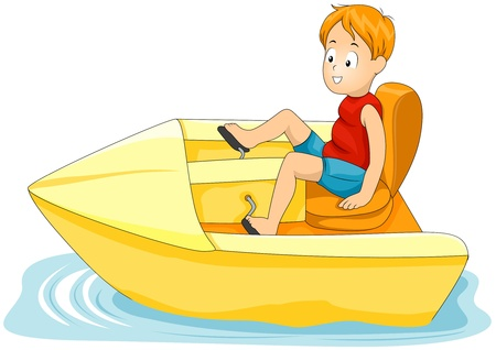 pedals: Illustration of a Little Boy Driving a Pedal-operated Boat