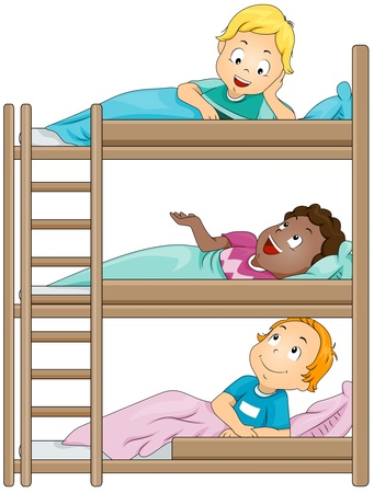 bunk bed: Illustration of Kids in a Camp Sharing Stories with One Another