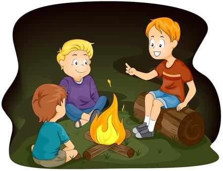 Ilustración de niños reunidos alrededor de una fogata Foto de archivo