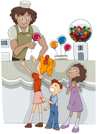 Illustration of Kids Buying Candy from a Candy Shop illustration