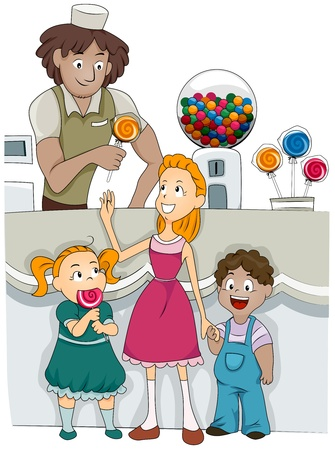 confectioner: Illustration of Kids Buying Candies from a Candy Shop
