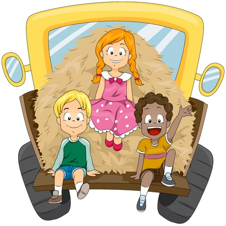 truck tractor: Illustration of Kids Transporting a Load of Hay