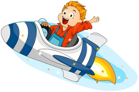 Illustration of a Little Boy Riding a Spaceship Stock Illustration - 8614148
