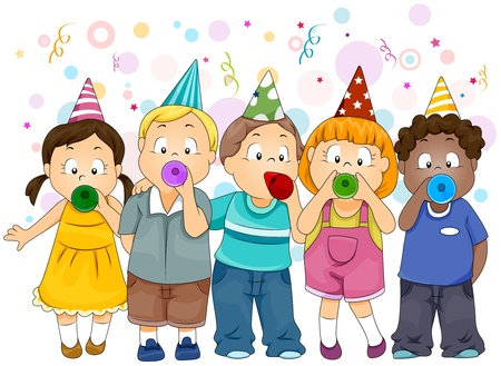 new year party: Illustration of Kids Celebrating New Year