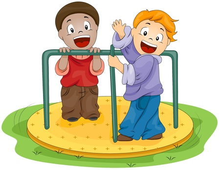 playmates: Illustration of Kids Playing with the Merry-go-Round