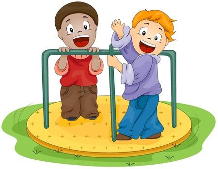 niños jugando caricatura: Ilustración de niños jugando con la calesita Foto de archivo