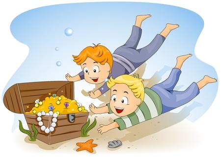 hunters: Illustration of Kids Diving for Sunken Treasure Stock Photo