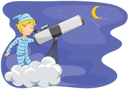 daydream: Illustration of a Little Boy Star Gazing with the Help of His Telescope