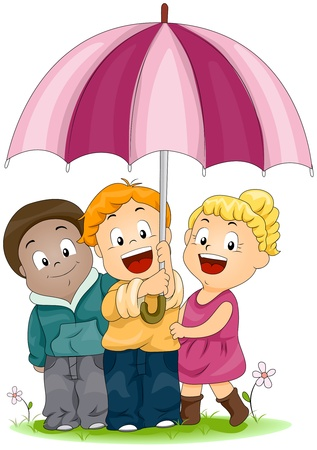 Illustration of Kids Sharing an Umbrella illustration