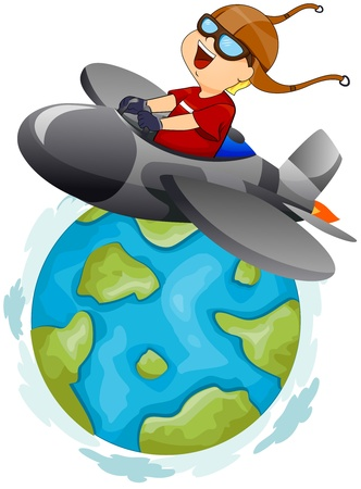 aeroplane cartoon: Illustration of a Little Boy Operating a Plane on aTrip Around the World Stock Photo