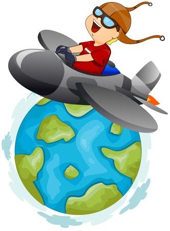 avion caricatura: Ilustraci�n de un Little Boy operar un plano en aTrip alrededor del mundo