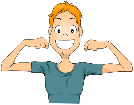 flexing muscles: Illustration of a Child Showing His Lean Arms Stock Photo