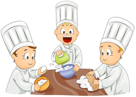 kneading: Illustration of Kids Trying Their Hand at Baking