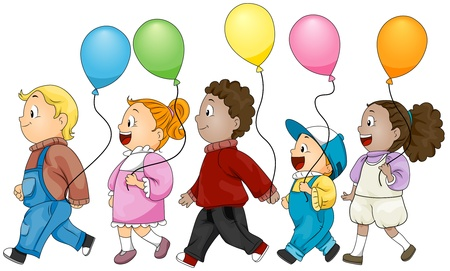 Illustration of Kids Holding Colorful Balloons