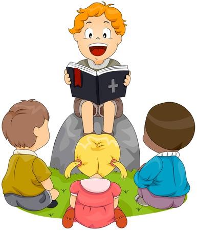 biblia: Ilustración de los niños a realizar un estudio de la Biblia