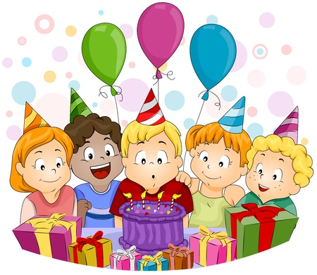 kids birthday party: Illustration of a Kid Blowing His Birthday Candles Stock Photo