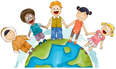 Illustration of Kids of Different Races Joining Hands to Represent Diversity Stock Illustration - 8614163