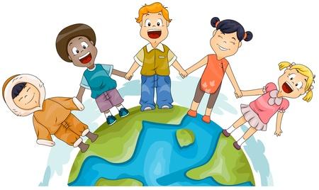 esquimal: Ilustraci�n de chicos de diferentes razas unir las manos para representar la diversidad
