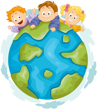playmates: Ilustraci�n de ni�os jugando en la parte superior de un enorme globo Foto de archivo