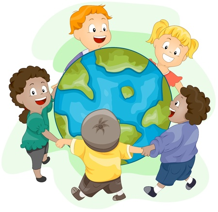 playmates: Ilustraci�n de ni�os jugando alrededor de un enorme globo