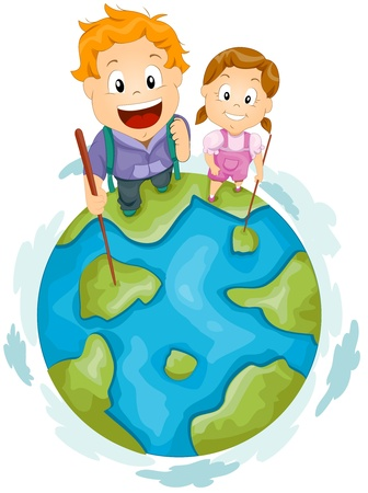 top of the world: Illustration of Little Hikers Standing at the Top of the Globe