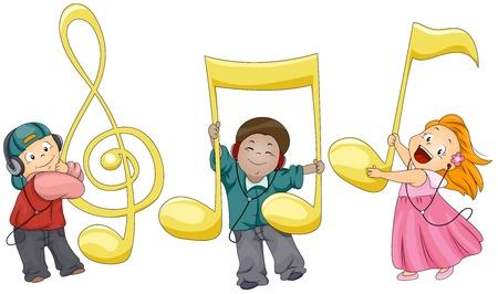 notas musicales: Ilustraci�n de ni�os jugando con notas musicales Foto de archivo