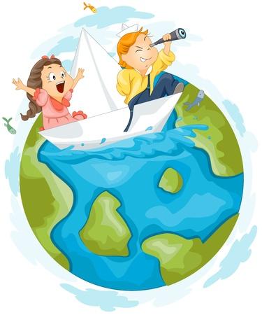 barco caricatura: Ilustraci�n de los ni�os, teniendo un viaje alrededor del mundo utilizando un Paperboat