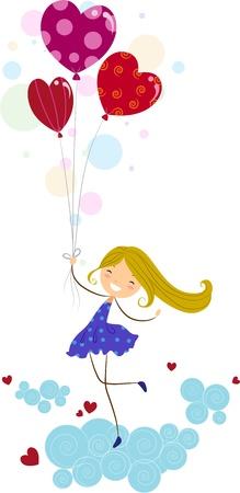 high spirits: Illustration of a Girl on Cloud Nine Stock Photo