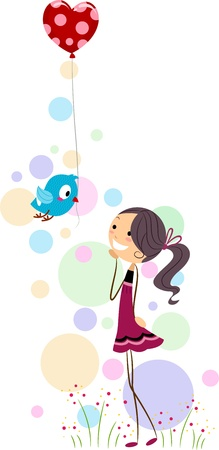 Illustration of a Little Bird Delivering a Balloon to a Girl Stock Illustration - 8635512