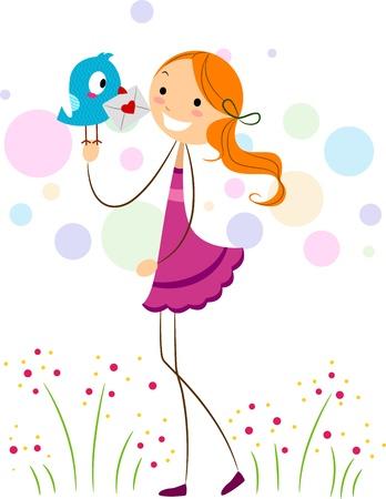 Illustration of a Lovebird Delivering a Love Letter to a Girl illustration