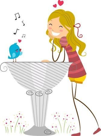 Illustration of a Lovebird Serenading a Girl illustration
