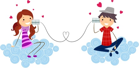 tin can phone: Illustration of a Stick Figure Couple Using Can Phones to Communicate Stock Photo
