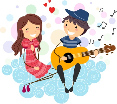 serenata: Ilustraci�n de un ni�o d�ndole una serenata a una chica Foto de archivo