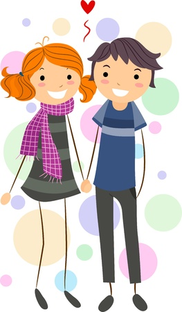 Illustration of a Stick Figure Couple Holding Hands While Walking Stock Illustration - 8635530