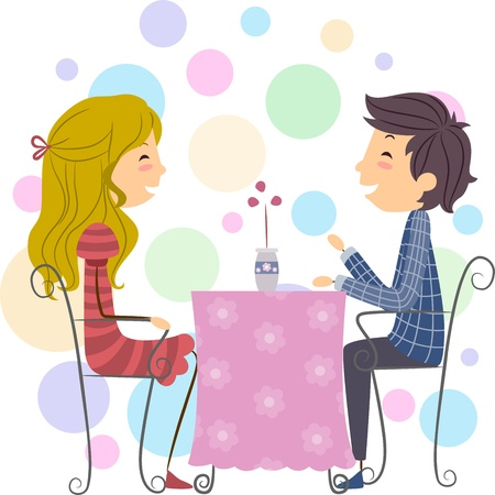 Illustration of a Stick Figure Couple on a Date