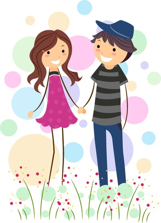 Illustration of a Stick Figure Couple Holding Hands While Walking Stock Illustration - 8635546