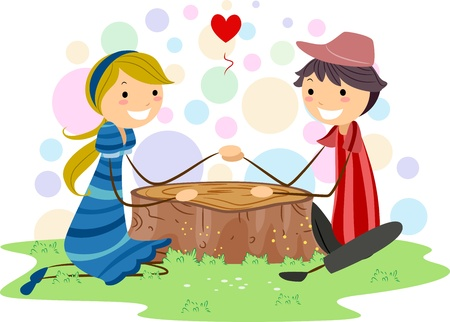 couple holding hands: Illustration of a Stick Figure Couple Holding Hands While Sitting Stock Photo