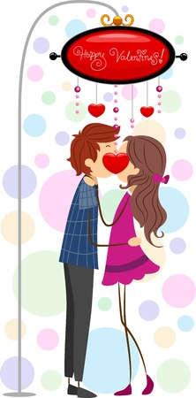 girls kissing: Illustration of a Couple Kissing Under a Lamppost