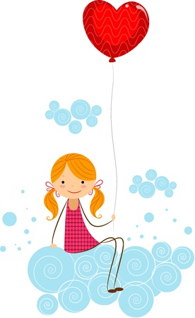Illustration of a Girl Holding a Balloon While Sitting on Some Clouds illustration