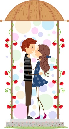 Illustration of a Couple Holding Each Other Close illustration
