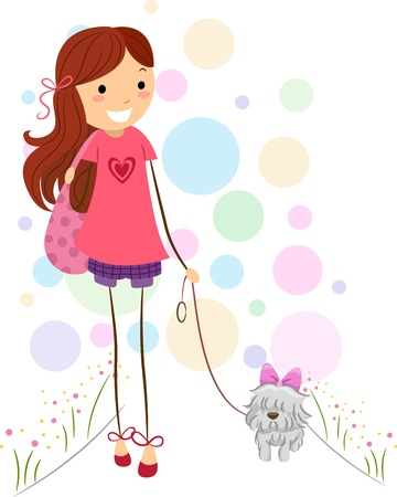 Illustration of a Girl Taking Her Dog for a Walk