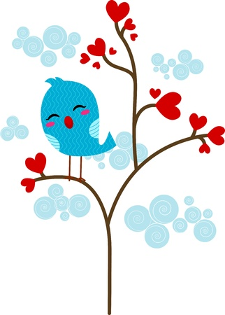 loveless: Illustration of a Lone Lovebird Perched on a Tree Stock Photo