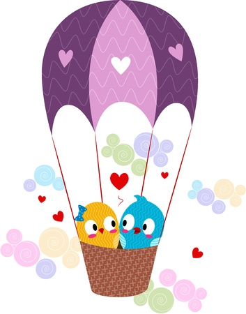 lovebirds: Illustration of Lovebirds in a Hot Air Balloon Stock Photo