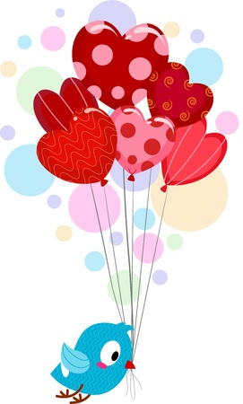 Illustration of a Lovebird Carrying Balloons Stock Photo