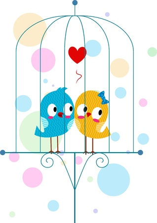 Illustration of Lovebirds in a Cage illustration